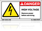 Electrical Shock - High Voltage Labels