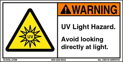 Warning - UV Light Hazard