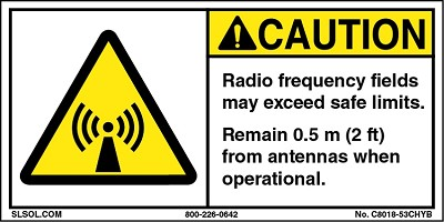 Caution - Radio frequency fields 0.5m